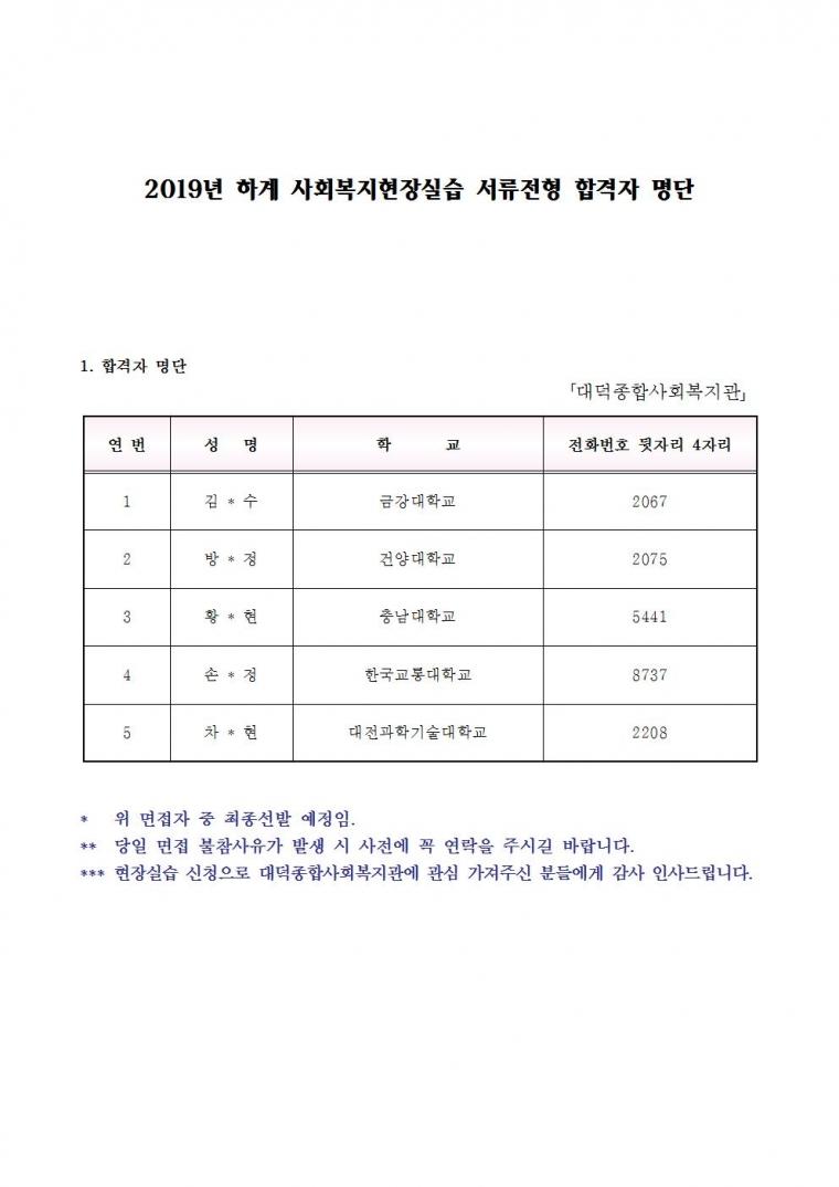 2019년 하계 사회복지현장실습 서류전형 합격자 명단001.jpg